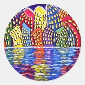 Dancing City Folk Art Cityscape Sticker