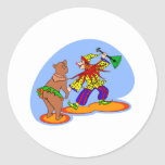 Dancing Clown & Bear Round Stickers