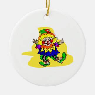 Dancing Clown Double-Sided Ceramic Round Christmas Ornament