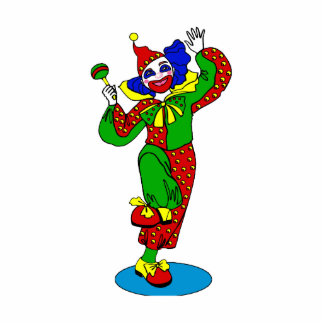 Dancing Clown with baby rattle Statuette