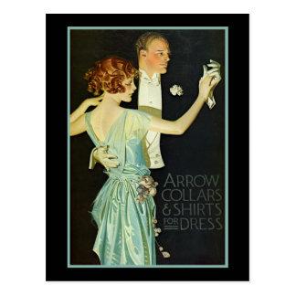 Dancing Couple Arrow Shirt Ad Postcard