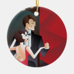 Dancing couple Art Deco geometric style poster Ceramic Ornament