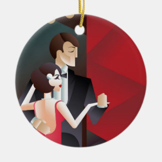 Dancing couple Art Deco geometric style poster Ceramic Ornament