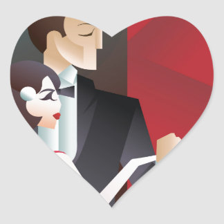Dancing couple Art Deco geometric style poster Heart Sticker