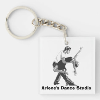 """Dancing Couple """"Business Place"""" Key Chain"""