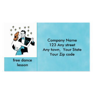 Dancing Couple in retro style studio or club card Business Card Template