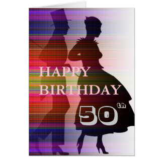 dancing couple in sillouette, add your own message card