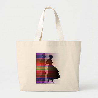 dancing couple in sillouette large tote bag