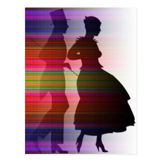 dancing couple in sillouette postcard