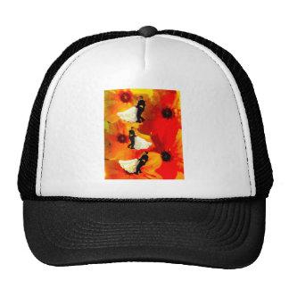 Dancing couple in wedding party trucker hat