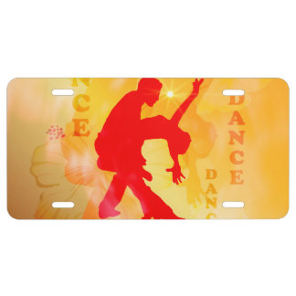 Dancing couple on a soft background license plate