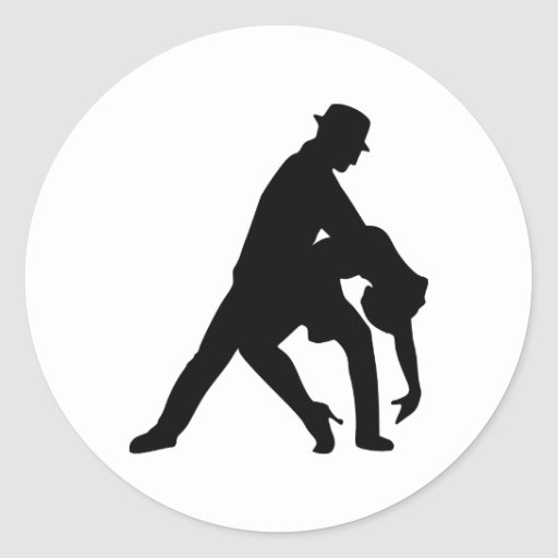 Dancing couple tango classic round sticker