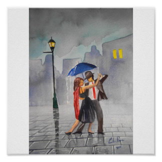 DANCING COUPLE UMBRELLA POSTER