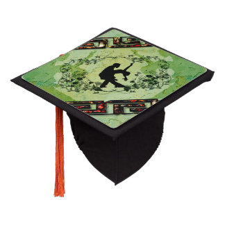 Dancing couple with roses on green background graduation cap topper