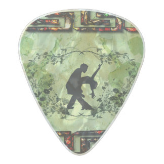 Dancing couple with roses pearl celluloid guitar pick