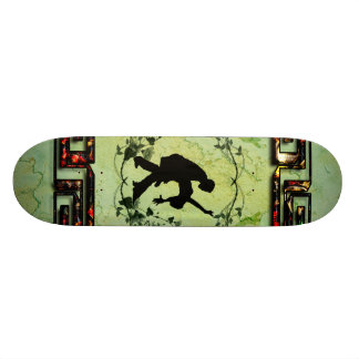 Dancing couple with roses skateboard