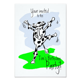 Dancing cow cartoon colourful named invite party