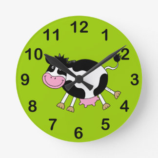dancing cow round clock