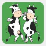 Dancing Cows (mooviestars) Square Sticker