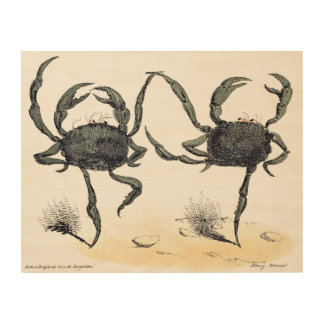 Dancing Crabs Wood Blocks Wood Print