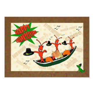 Dancing Crawfish Pilgrims Cajun Happy Thanksgiving Card