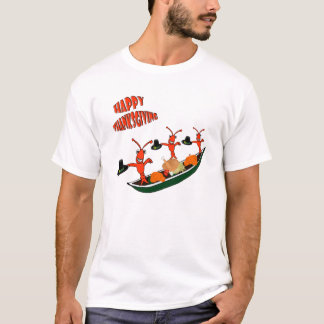 Dancing Crawfish Pilgrims Cajun Happy Thanksgiving T-Shirt