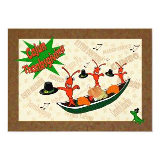 Dancing Crawfish Pilgrims Cajun Thanksgiving Card