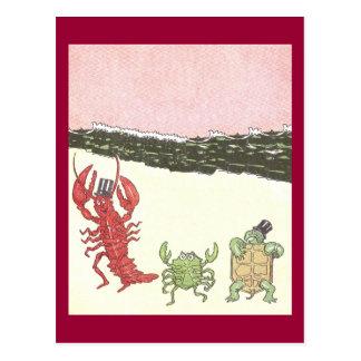 Dancing Crustaceans & Turtle on Beach Postcard