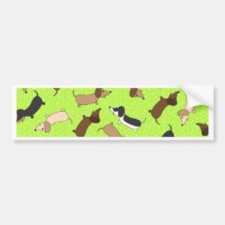 Dancing Dachshunds Lime Green Bumper Sticker