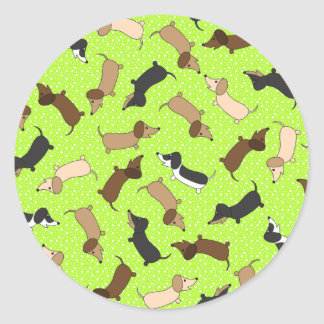 Dancing Dachshunds (Lime Green) Classic Round Sticker