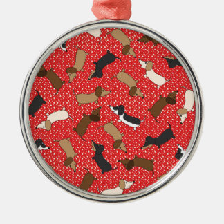 Dancing Dachshunds (Red) Metal Ornament