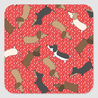 Dancing Dachshunds (Red) Square Sticker