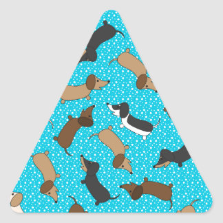 Dancing Dachshunds (Teal) Triangle Sticker