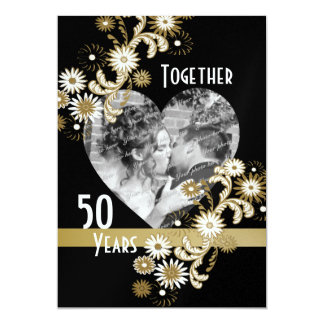 Dancing Daisies 50th Anniversary 5x7 Paper Invitation Card