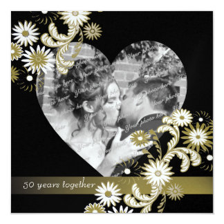 Dancing Daisies 50th Anniversary 5.25x5.25 Square Paper Invitation Card