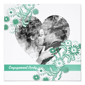 Dancing Daisies Engagement Party and Photo 5.25x5.25 Square Paper Invitation Card