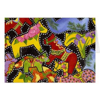 Dancing Dala Horses Bank Inside Greeting Card