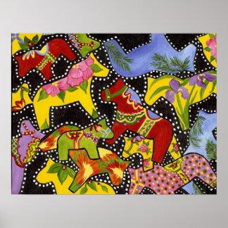 Dancing Dala Horses Poster