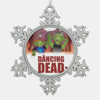 Dancing Dead Snowflake Pewter Christmas Ornament