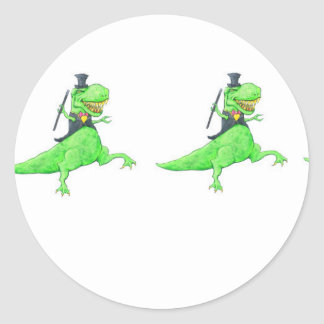 Dancing dinosaurs classic round sticker