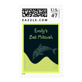 DANCING DOLPHIN Bat Mitzvah Invitation Stamp