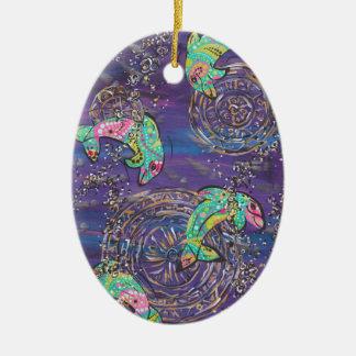 Dancing Dolphins Ceramic Ornament