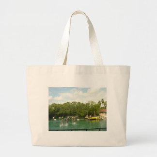 Dancing Dolphins in Miami Large Tote Bag