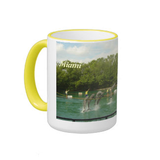 Dancing Dolphins in Miami Ringer Coffee Mug