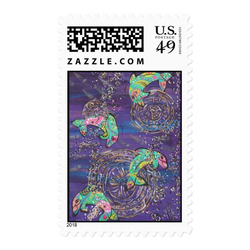 Dancing Dolphins Postage Stamp