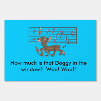 Dancing Dorothy the Dachshund on a yard sign. Sign