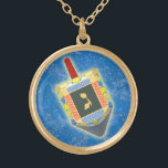 """Dancing Dreidel for Hanukkah Gold Plated Necklace<br><div class=""""desc"""">Make a stylish statement wearing this elegant necklace featuring a metallic look gold frame around a spinning dreidel. For yourself or makes a lovely gift.  Check out the matching earrings.</div>"""