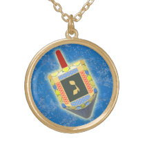 Dancing Dreidel for Hanukkah Gold Plated Necklace