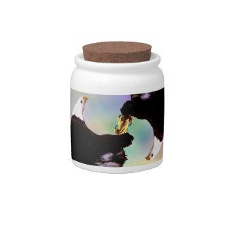 Dancing eagles candy jar