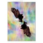 Dancing eagles greeting card